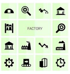 14 factory icons vector