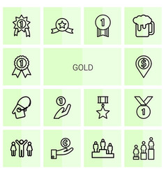 14 gold icons vector