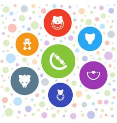 7 teddy icons vector
