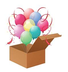 A box of balloons vector