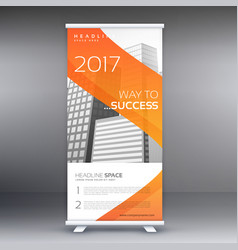 abstract orange roll up banner standee design vector image