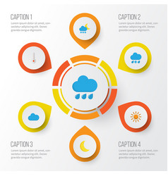 Air flat icons set collection of frosty rain vector