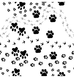 Animal footprint seamless pattern vector