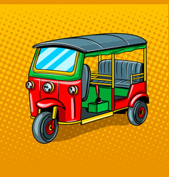 Auto rickshaw transport pop art style vector