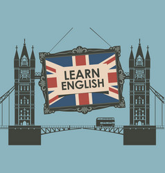 Banner for learn english with tower bridge vector