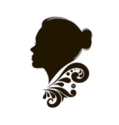 Beauty woman face silhouette in profile vector