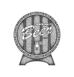 Beer label in form wooden barrel vector image
