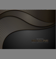 black corporate wavy background with bronze lines vector image