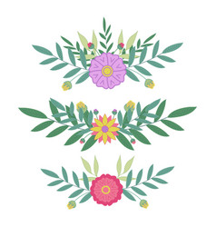 Border flowers set leaves and flowers design for vector