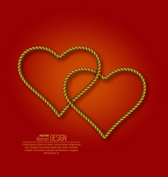 bound hearts from ropes vector image