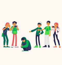 Bullying of young man sitting alone flat vector