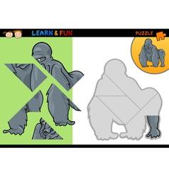 Cartoon gorilla puzzle game vector image