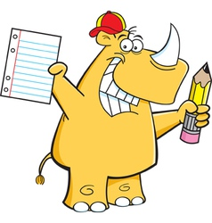 Cartoon Rhino Student vector image