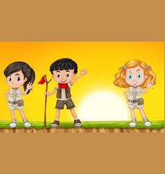 Children hiking in nature vector