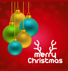 christmas card with red background and balls vector image