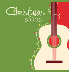 christmas songs guitar on red green background vector image