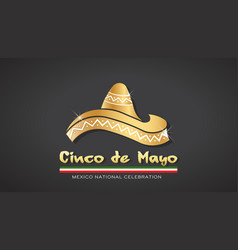 cinco de mayo gold hat celebration vector image