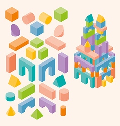 Colored building blocks for children vector