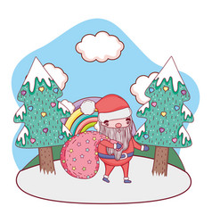 cute christmas santa claus with bag in the vector image