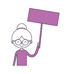 Cute grandmother with protest label avatar vector