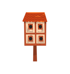 Cute wooden two storied bird house nesting box vector