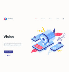 Digital vision technology isometric landing page vector