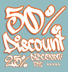 discount graffiti 50 25 75 v vector image