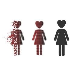 Dispersed pixel halftone mistress icon vector