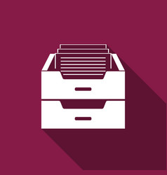 drawer with documents icon with long shadow vector image