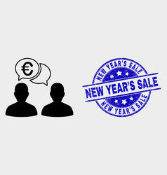 euro people chat icon and distress new year vector image