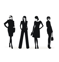 Fashion woman silhouettes in black and white vector