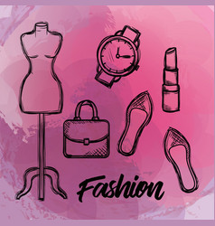 Female fashion accesories icons vector