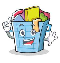 finger laundry basket character cartoon vector image