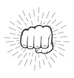 fist with sunbursts in vintage style vector image