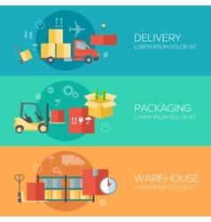 Flat design concepts for warehouse packing vector image