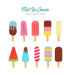 Flat ice cream collection vector