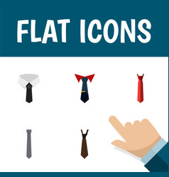 flat icon tie set of textile tie style and other vector image