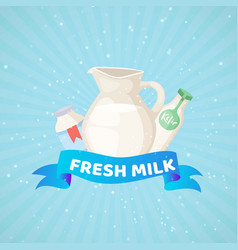 fresh milk product dairy banner with branded milky vector image