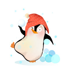 fun penguin playing throwing snowballs wearing hat vector image