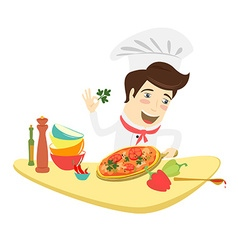 Funny chef decorating pizza dish in kitchen vector
