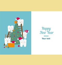 Funny teeth and New Year vector