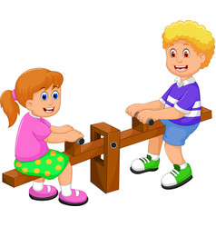 Funny two kids cartoon playing see saw vector