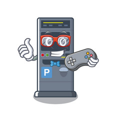 Gamer parking vending machine isolated mascot vector