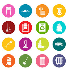 Garbage thing icons many colors set vector