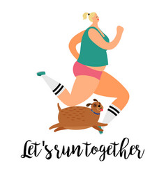 girl and dog run together vector image