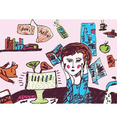Girl is very busy and exhausted vector image