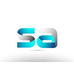 Grey blue alphabet letter sa s a logo 3d design vector