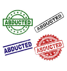 Grunge textured abducted seal stamps vector