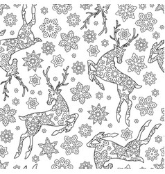 Hand drawn outline festive seamless pattern with vector