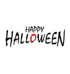 happy halloween text black scary design isolated vector image